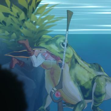 カエルに丸呑みにされるめぐ○ん